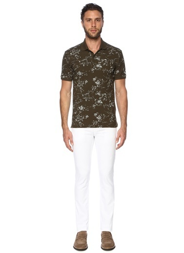 George Hogg George Hogg 7003326 Polo Yaka Slim Fit Nar Çiçeği Tshirt Erkek Tişört Haki